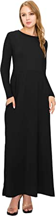 Always Women Maxi Dress - Shrink Free Premium Soft Loose Casual Long Sleeve Empire Dresses with Pockets