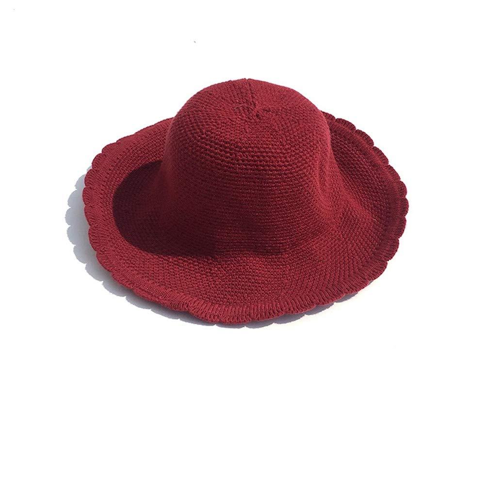 Mzdpp Sombrero De Pescador De Punto Otoño De E Invierno Señoras De Otoño ala Ancha Sombreros Colapso Cubo Tapa Roja 5d4eb4