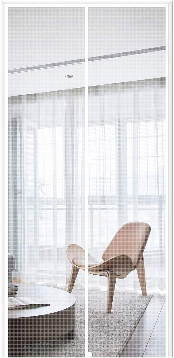 """MAGZO Magnetic Screen Door 36'' x 80'' White, Durable Fiberglass Screen Doors with Magnets Fit Door Size 36"""" x 80"""" Front Back Patio Sliding Balcony Home Screen Curtain Mesh Net with Full Frame"""