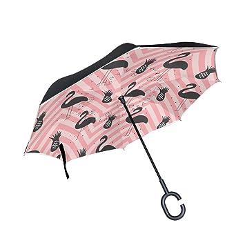 MAILIM Paraguas de Verano, Diseño de Flamenco, Color Rosa, Doble Capa, Resistente