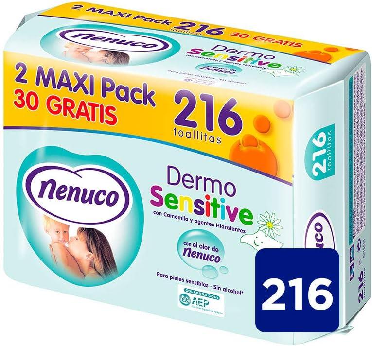 Nenuco Dermosensitive - Toallitas bebé para pieles sensibles, sin alcohol - 216 unidades
