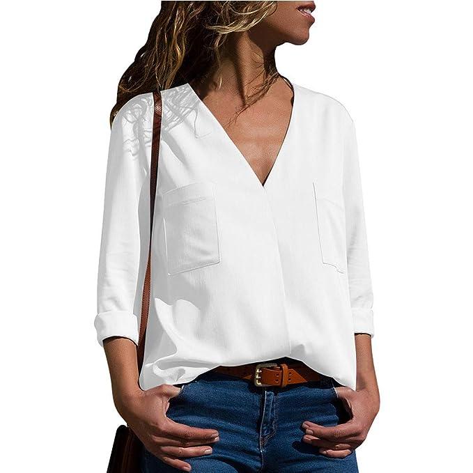 2b68b668 VIGVOG Women's V-Neck Long Sleeve Chest Pockets Blouse at Amazon ...