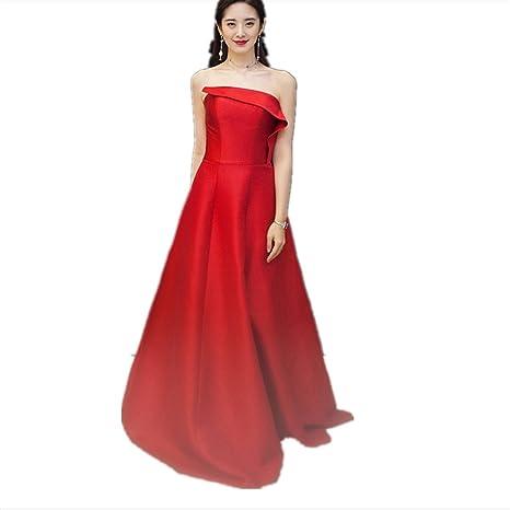 promo code dca17 eab24 JKJHAH Sposa Vestito da Sera Rosso Banchetto Abito da Sera ...