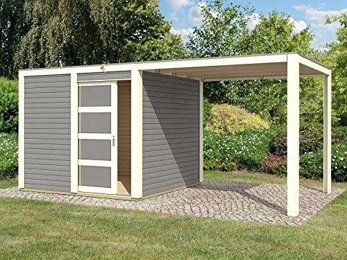 Karibu Gartenhaus Cubini mit Schleppdach terragrau mit selbstklebender Dachbahn