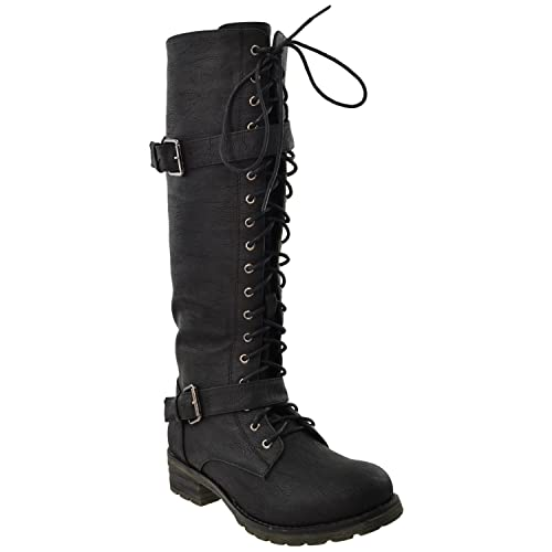 c654a0f88eb Image Unavailable. Image not available for. Color  RP By KSC Womens Knee  High Boots Faux Leather Lace Up ...