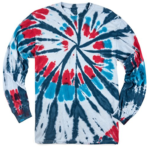 Magic River Long Sleeve Handcrafted Tie Dye T Shirts - Americana - Adult Medium