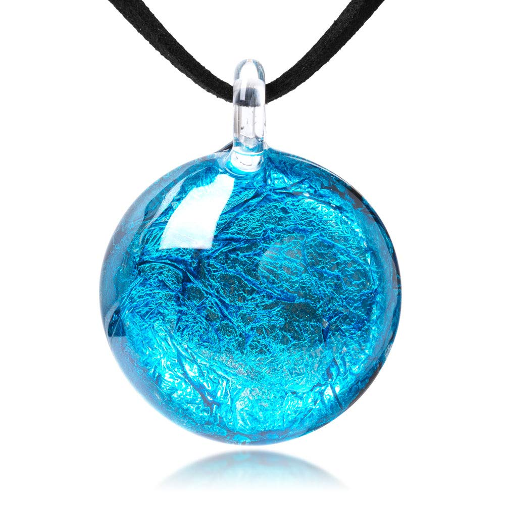 Hand Blown Glass Jewelry Glitter Ocean Blue Round Pendant Necklace 17-19 inches Leather Cord