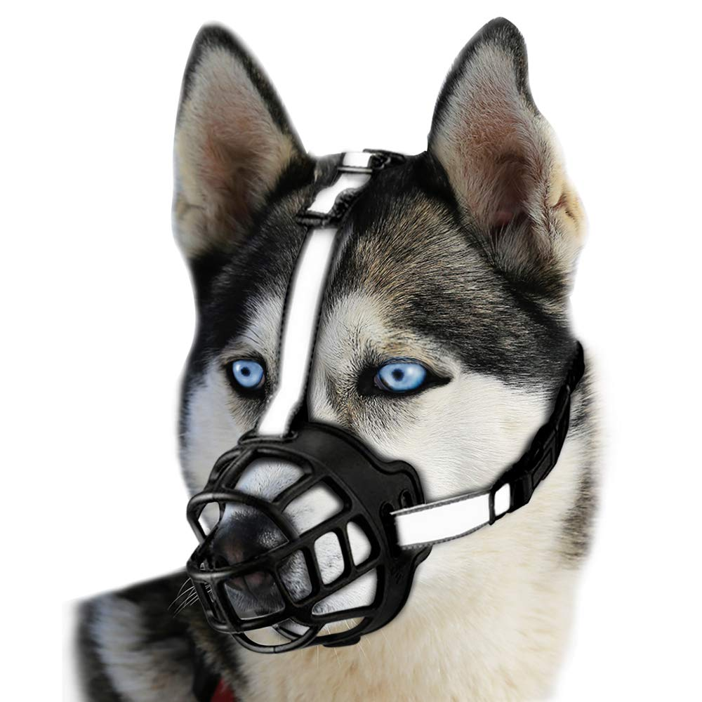 duobing Dog Muzzle,Soft Basket Silicone Muzzles for Dog, Dog Muzzle Basket for Small,Medium and Large Dogs.Best to Prevent Biting, Chewing and Barking, Allows Drinking and Panting. (4#, Black) by duobing