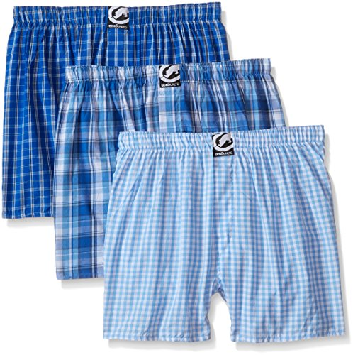 Ecko Unltd. Men's 3pk Woven Boxers 293, Light Blue Plaid, Medium
