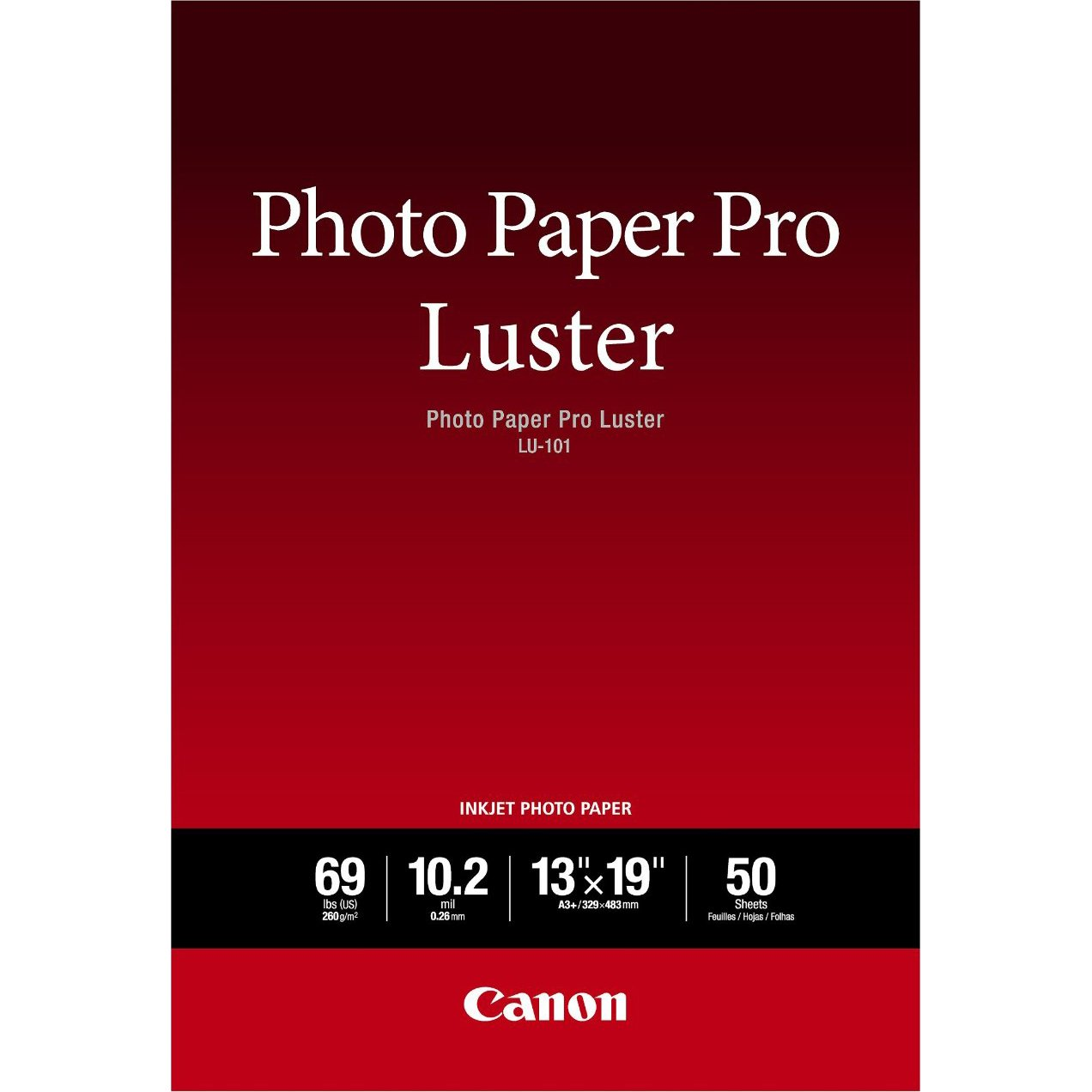 Canon Pro Luster Inkjet Photo Paper, 8.5-Inch X 11-Inch, White, 50 Sheets/Pack CANON USA INC. CNM6211B004