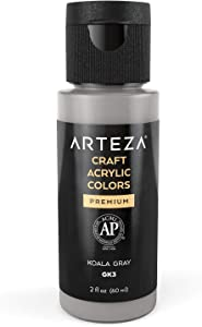 Arteza Craft Acrylic Paint GK3 Koala Gray, 60 ml Bottles, Water-Based, Matte Finish, Blendable Paints for Art & DIY Projects on Glass, Wood, Ceramics, Fabrics, Paper & Canvas
