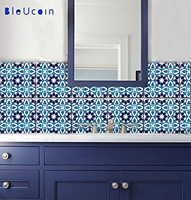 Tile Stickers muraux Stickers vinyle Home Decor Bleu Indigo style ...
