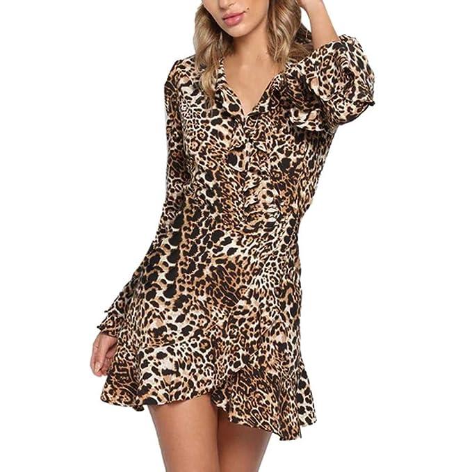 VJGOAL Mujer Primavera y Verano Moda Casual Sexy con Cuello en V Estampado de Leopardo Dobladillo