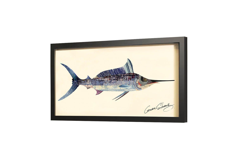 Trendiges KunstLoft® Bild Frame Art 3D 'En Garde' 81x41cm   Handgefertigte Vintage Wanddeko aus Papier   Schwertfisch Fisch Blau Abstrakt   Wandbild Collage Art moderne Kunst Retro im Bilderrahmen
