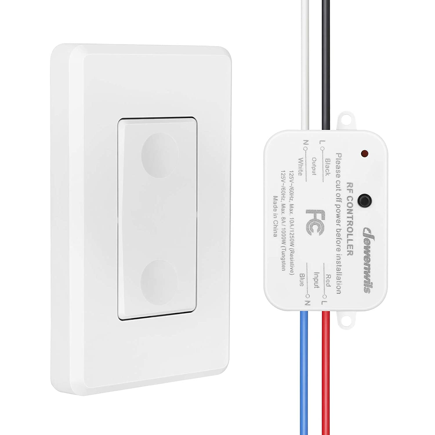 DEWENWILS Wireless Light Switch and Receiver Kit, No in-Wall Wiring Required,Remote Control Wall Switch Lighting Fixture for Ceiling Lights, Fans, Lamps, 100 Ft RF Range, Programmable