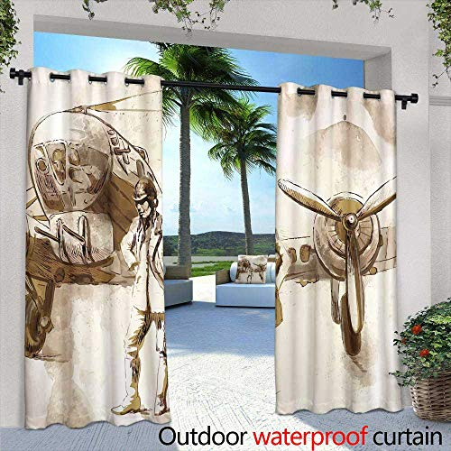 Indoor/Outdoor Single Panel Print Window Curtain,Vintage Parisian Cards Series notredame Cathedral,W108 x L84 for Front Porch Covered Patio Gazebo Dock Beach Home ()