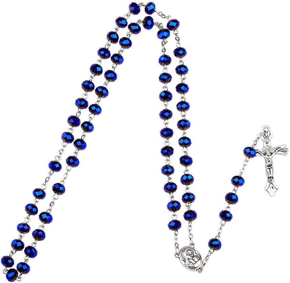 Yuccer Collar de Rosario, Católico Collar Perlas Rosario Suelo Santo Colgante Cruzado Collar con Bolsa de Regalo, Regalos de Bautismo para Niños y Niñas
