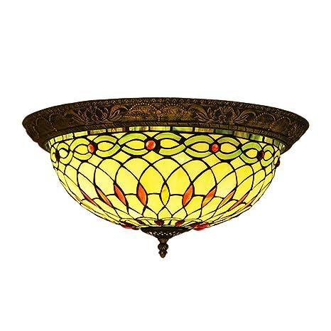 Makenier Vintage Tiffany - Lámpara de techo de cristal ...