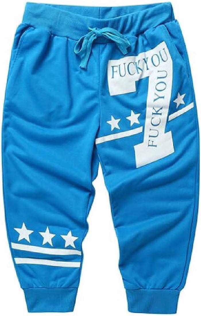 CRYYU Men Drawstring Casual Printed Cropped Pants Gym Workout JoggerShorts