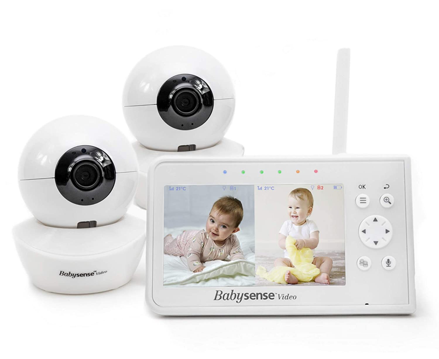 "Baby Monitor, Babysense 4.3"" Split Screen, Video Baby Monitor with Two Cameras and Audio, Remote PTZ, 960ft Range (Open Space), Adjustable Night Light, Two-Way Audio, Zoom, Night Vision, Lullabies"