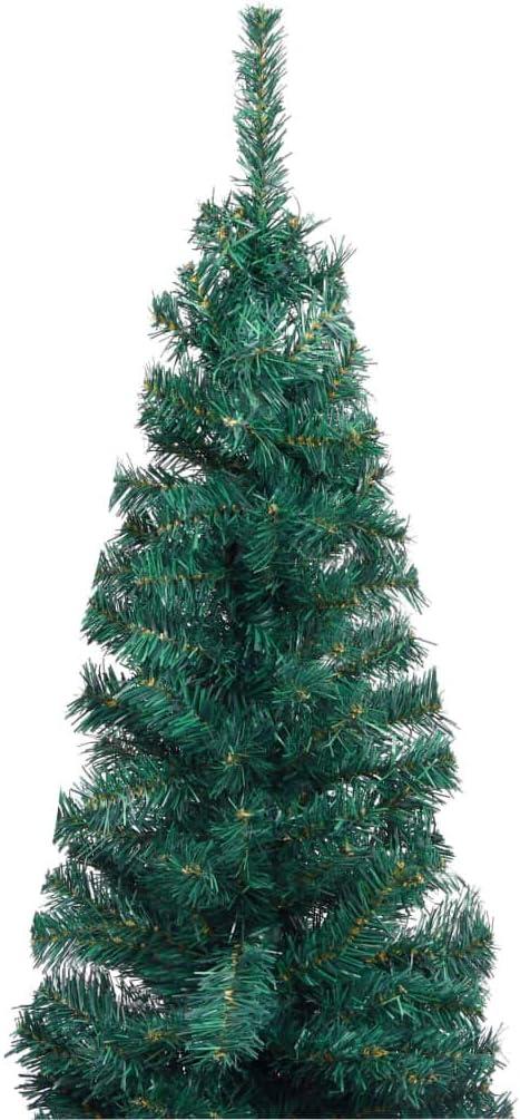 pedkit /Árbol de Navidad /Árbol de Navidad Decoraci/ón Artificial Estrecho y Soporte PVC Verde 180 cm