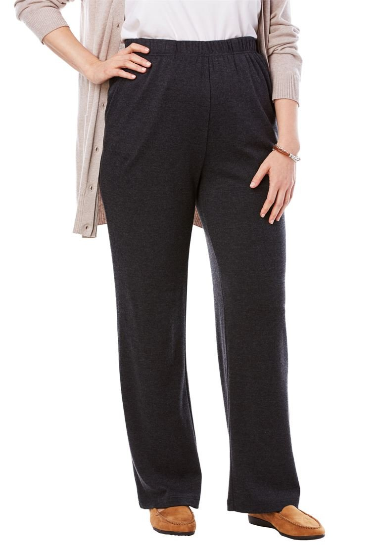 Women's Plus Size 7-Day Knit Petite Straight Leg Pant Heather Charcoal,L