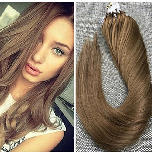 Ugeat 18Inch Micro Link Extensions Human Hair #8 Light Brown Silk Straight Remy Human Hair Micro Loop Extensions 50Gram (Straight Loop)