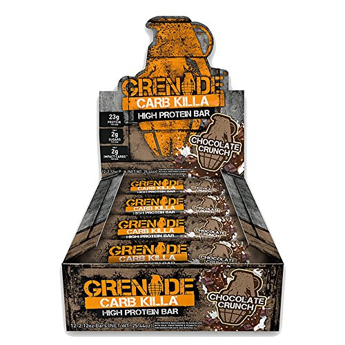 Grenade Carb Killa Protein Chocolate Bar | 23g High Protein Snack | Keto Friendly Low Net Carb Low Sugar |  Energy Bars | Chocolate Crunch, 12 Pack