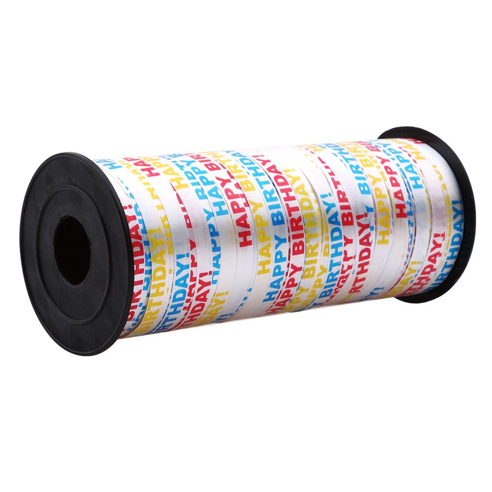Edtoy Ribbon Balloon Roll, Gift Box Packaging Ribbons for Parties Festival Florist Crafts and Gift Wrapping (Happy Birthday)