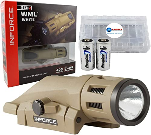 Inforce WML White Gen 2 Weapon Light 400 Lumens Bundle with 2 Extra Energizer CR123 Batteries and a Lightjunction Battery Case