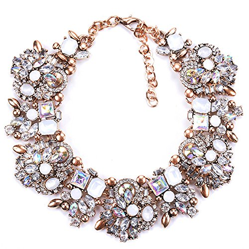 Zthread Bib Statement Necklace Colorful Glass Crystal Collar Choker Necklace for Women Fashion Accessories (White) ()