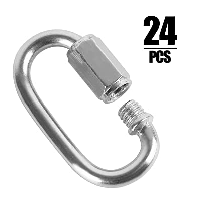 24 Packs Quick Link M4 4MM Stainless Steel Chain Connector by KINJOEK, Heavy Duty D Shape Locking Looks for Carabiner, Hammock, Camping and Outdoor Equipment, Max. Load 500 Lb: Industrial & Scientific
