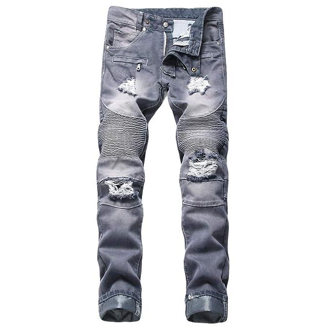 9f7f968f18 Mymyguoe Hombre Pierna Recta Pantalones Vaqueros