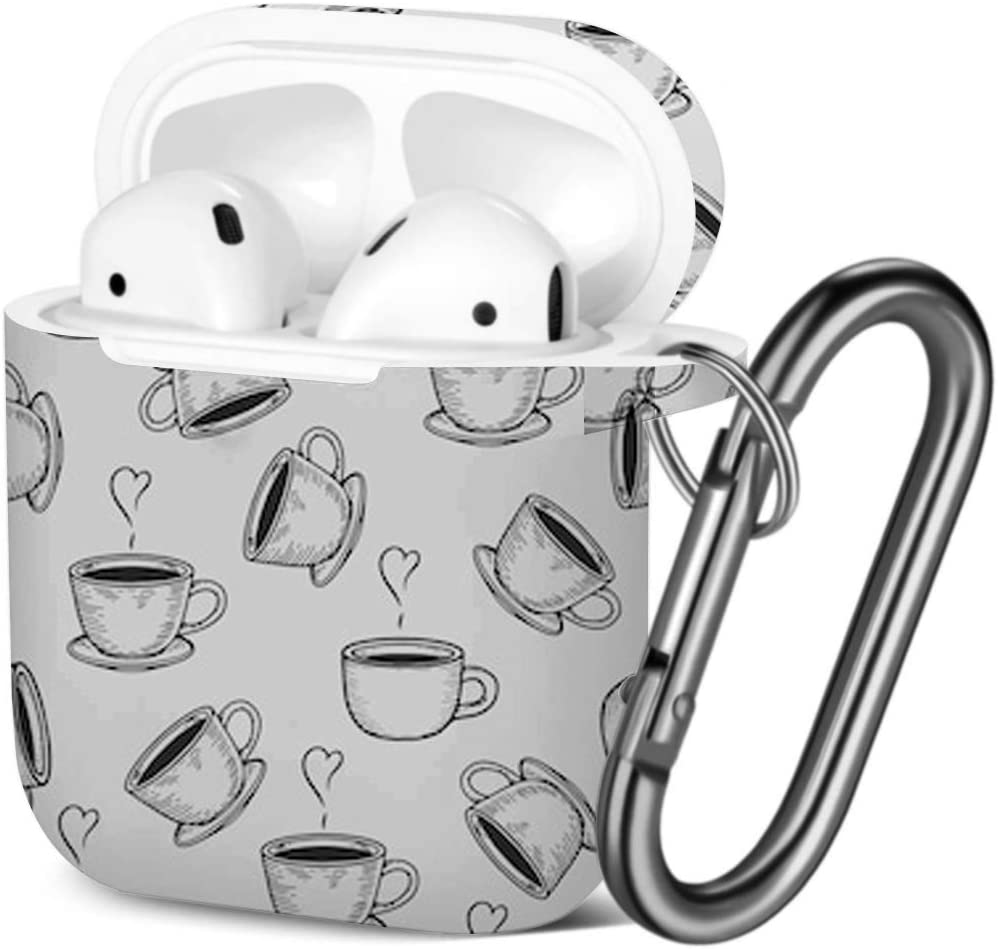 Coffe Cup Tea Engraving Shockproof Soft TPU Gel Case Cover with Keychain Carabiner for Apple AirPods Compatible with AirPods 2 and 1