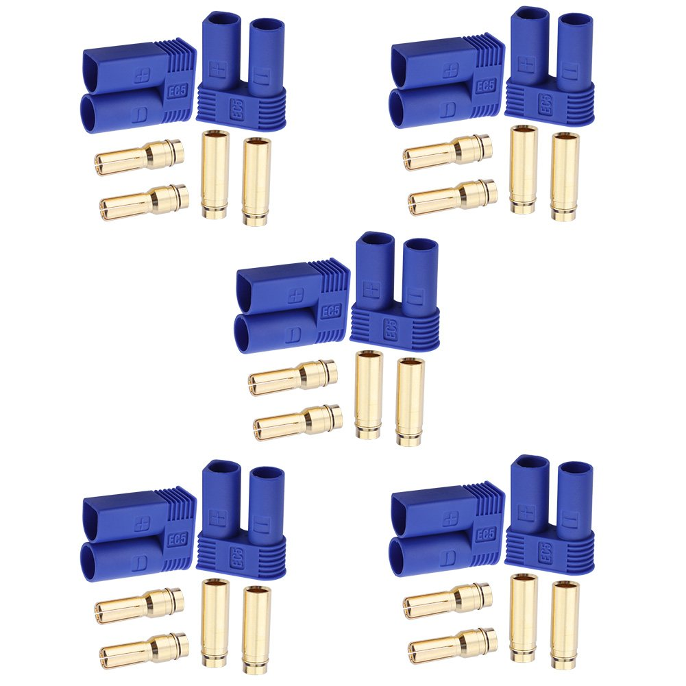 Hobbypark 5 Pairs EC5 Banana Plug Connectors Female Male 5.0mm Gold Bullet Connector for RC ESC LIPO Battery Device Electric Motor