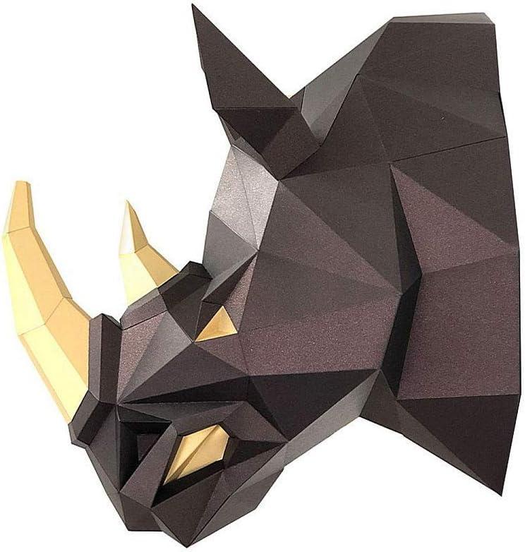 Amazon.com: Paperraz DIY 3D Rhino Head Animal PaperCraft Building Kit Wall Mount - NO Scissors Needed: Toys & Games