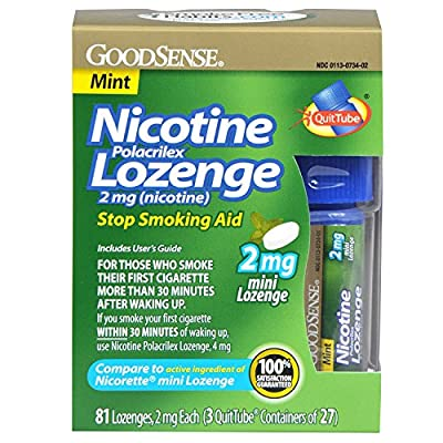 GoodSense Mini Nicotine Polacrilex Lozenge, Mint, 2mg
