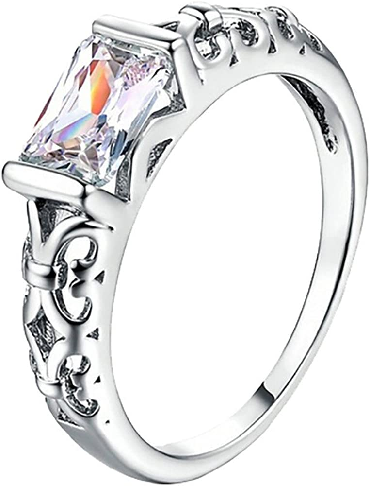 Yiwanjia Square Diamond Ring Rose Gold Ring Engagement Wedding Anniversary Party Ring