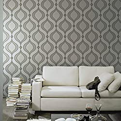 Blooming Wall Modern Elegant Trellis Wallpaper,,20.8 In32.8 Ft=57 Sq Ft/Roll,Silver/Gray/yellow