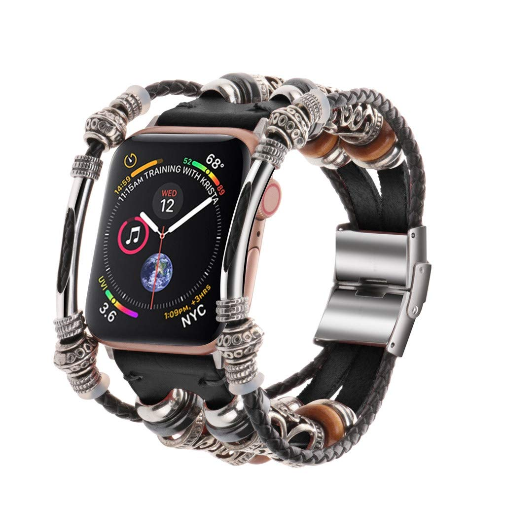 Shan-S Compatible for iWatch Series 5 40mm Bands,Unique Fashion Handmade Leather DIY Strap Replacement Adjustable Bracelet Wristbands for iWatch Series 5 40mm Smartwatch Women Men Lover by Shan-S