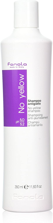 Fanola Champú NO YELLOW Antiamarillo - Especial cabellos grises, aclarados, decolorados, mechas, rubio claro - PROFESIONAL 350mL