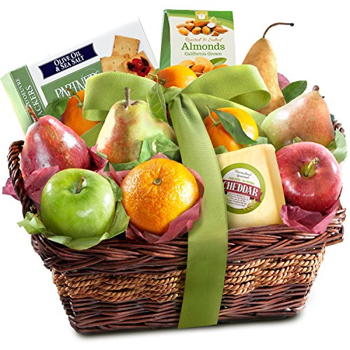 Cheese, Fruit, and Nuts Delight Gift Basket - Easy Snacking for Mom