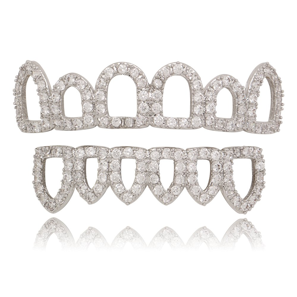 Lureen 14k Gold Siver Pave CZ Open Face Outline 6 Top and Bottom Grills Teeth Sets B074QG79FQ_US