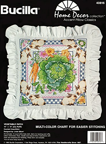 Bucilla Vegetable Patch Counted Cross Stitch Pillow Kit 40816