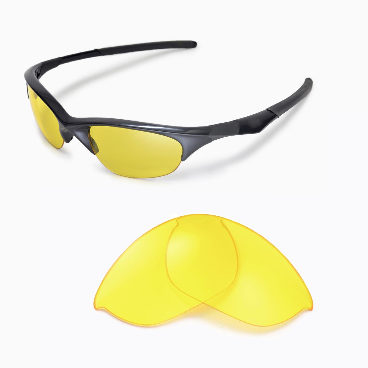Walleva Replacement Lenses for Oakley Half Jacket Sunglasses - Multiple Options Available (Yellow)