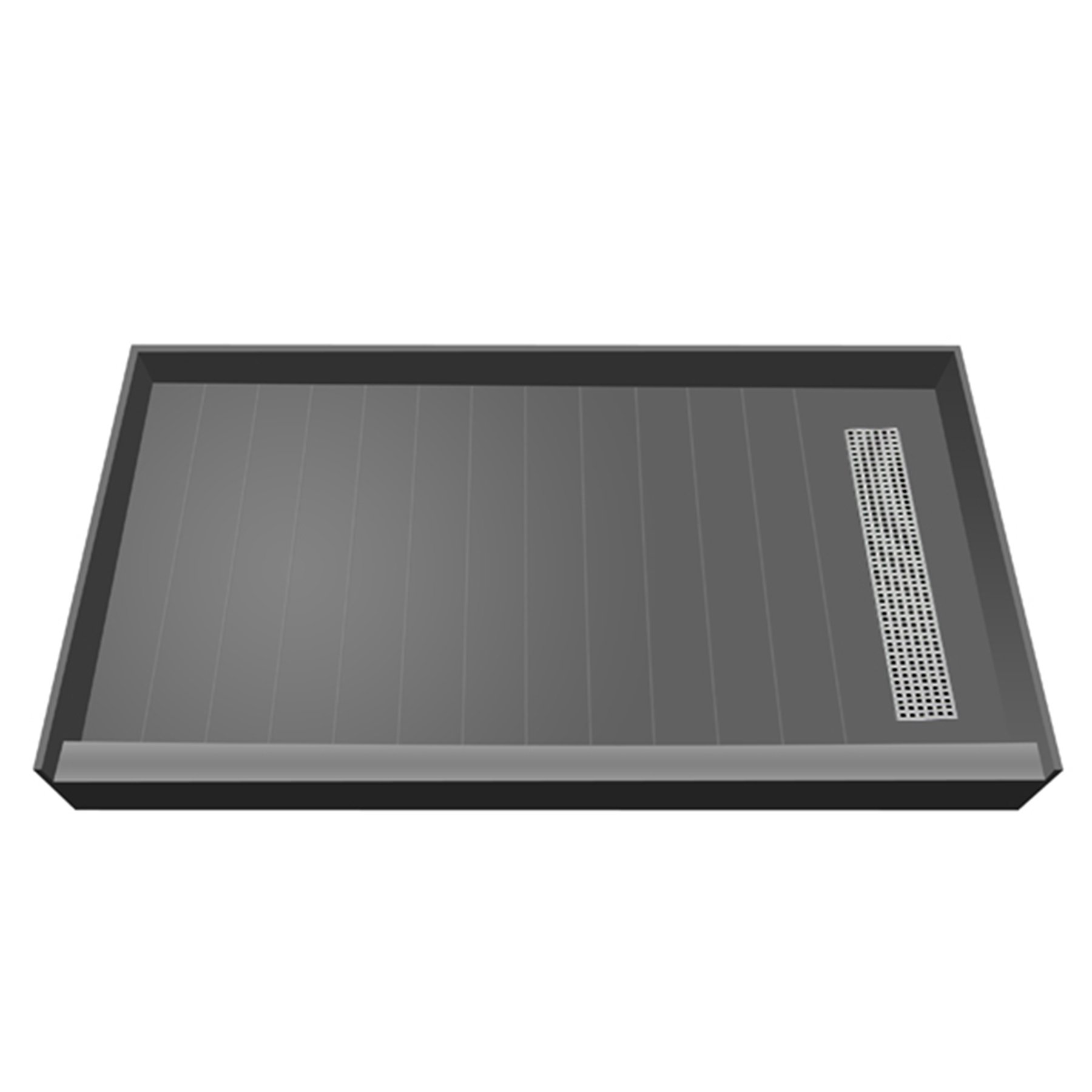 Tile Redi USA RT3660R-PVC-SQBN Redi Trench Shower Pan with Right Designer Brushed Nickel Trench, 36'' D x 60'' W