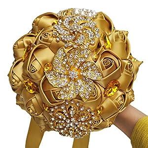 FYSTORE Bride Bridesmaids Bouquet Crystal Rhinestone Brooch Wedding Bouquets Brides Bridesmaids Hand Holding Flower 18cm/ 7 inch Gold 18