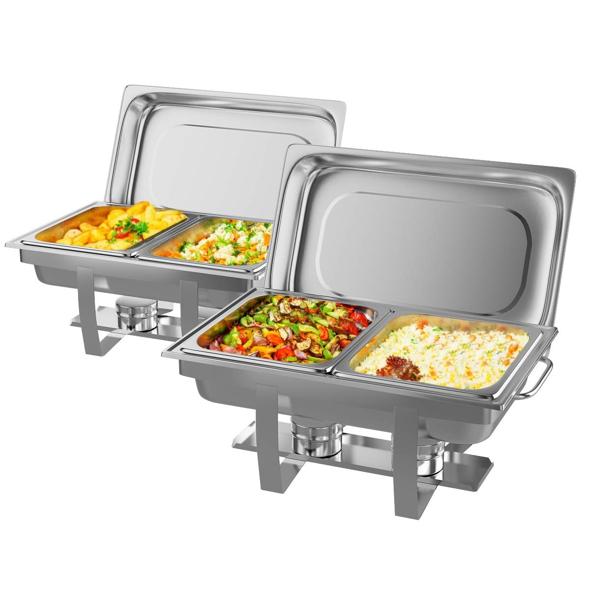 Giantex 2 Packs Chafing Dish 9 Quart Chafer Dishes Buffet Set Stainless Steel Rectangular Chafing Dish Set Full Size with 2 Half Size Pan (23.5''Lx 14''Wx12''H (9 Quart)) by Giantex
