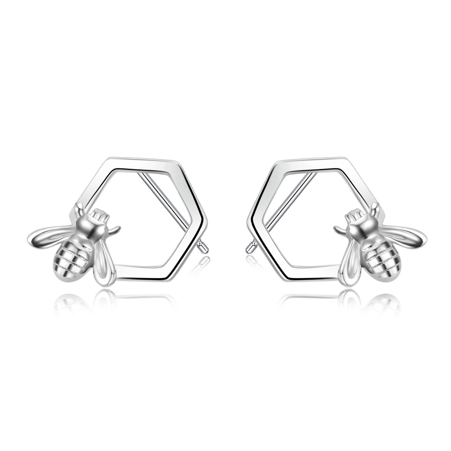 e660e5350 Amazon.com: LUHE Honeycomb and Honey Bee Earrings Hypoallergenic Cute Sterling  Silver Stud Earrings for Women Teen Girls: Jewelry