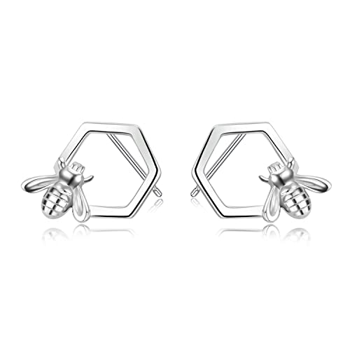 f8571b16b LUHE Honeycomb and Honey Bee Earrings Hypoallergenic Cute Sterling Silver  Stud Earrings for Women Teen Girls